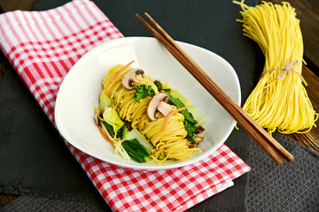 Stir fried noodles vegetarian or Fried Long Life Noodles (Thai name is Pad Mee Sua)