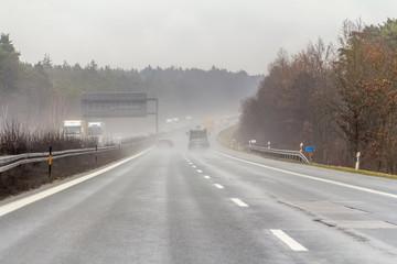 rainy highway scenery