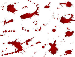 Messy blood blot collection, red drops on white background. Vector illustration, maniac style, isolated. Big splashes