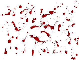 Messy blood blot, red drops on white background. Vector illustration, maniac style