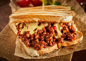 Close up view of sloppy joe tasty sandwich