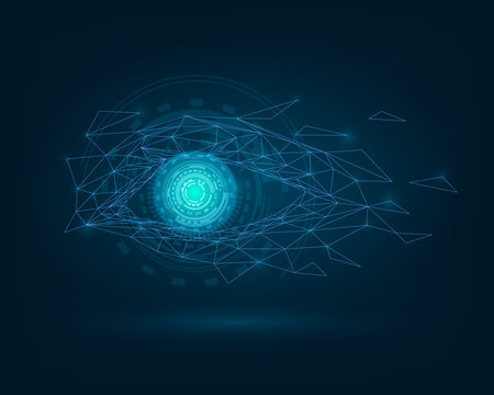 Glowing eye, robot eye, biometric recognition concept, technology, computer vision and security