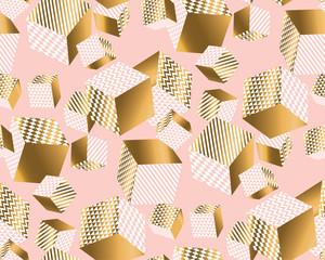 Cubes d& 39 or et de rose pâle dans un chaos dynamique.