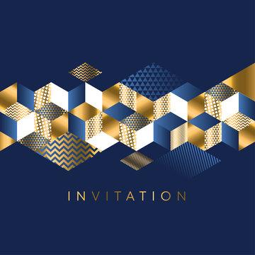 Luxury Marine geometric pattern for invitation.