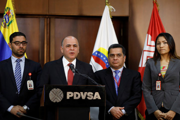 Venezuela's Oil Minister and President of PDVSA Manuel Quevedo talks to the media during a news conference in Caracas