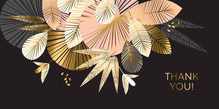 Decorative geometric gold and rosy tropical pattern