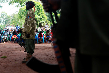 A former child soldier participates in a child soldiers' release ceremony, outside Yambio