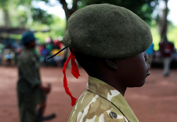 Former child soldiers participate in a child soldiers' release ceremony, outside Yambio