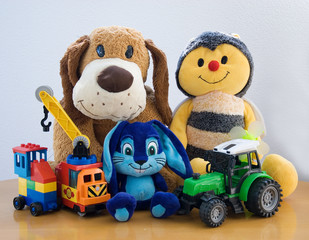 variety of plush and plastic toys