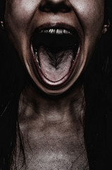Screaming face of woman. Concept of victim of any discrimination, harassment, poorness, hunger