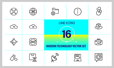 Modern technology icons. Set of line icons. Cloud service, VR camera, data storage. Technology concept. Vector illustration can be used for topics like digital device, photography, virtual reality
