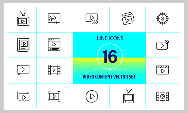 Video content icons. Set of  line icons. Player, screen, tv. Video content concept. Vector illustration can be used for topics like online movie, broadcasting, streaming.