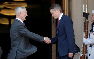 U.S. Defense Secretary James Mattis welcomes British Defense Secretary Gavin Williamson at the Pentagon, in Washington, D.C.
