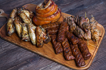 Mixed grilled meat platter. Assorted delicious grilled meat