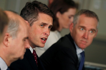 British Defense Secretary Gavin Williamson talks with journalist during a meeting with U.S. Defense Secretary James Mattis at the Pentagon, in Washington, D.C.