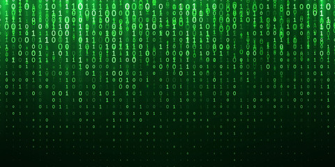Binary matrix 1 0 bits green abstract background