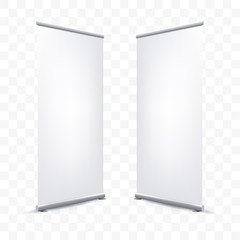 Roll up X banner vector white blank mockup poster