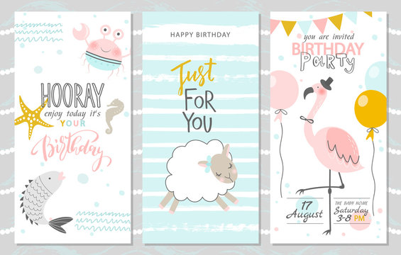 Set of birthday greeting cards and party invitation templates with cute fish, crab, lamb and pink flamingos. Vector illustration