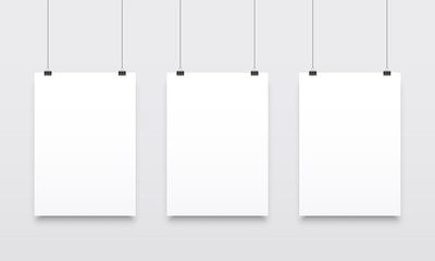 Poster mockups vector white hanging templates