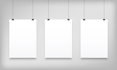 Poster mockups white hanging vector paper canvas