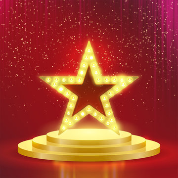 Star podium lamps vector red light background