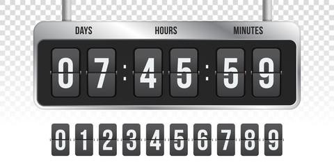 Flip countdown clock vector timer counter
