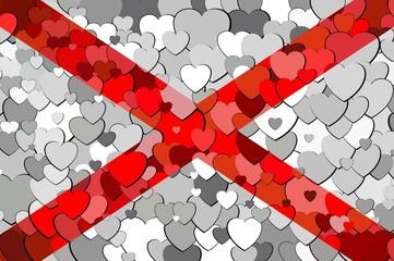 Alabama made of hearts background - Illustration,  Flag of Alabama with hearts background