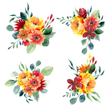 Set of watercolor floral arrangements. Collection of natural hand drawn prints with flowers and leaves
