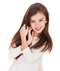 Portrait of a charming brunette little girl