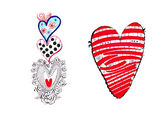 Hand sketch drawing of hearts with decoration