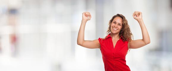Happy woman. Large copyspace