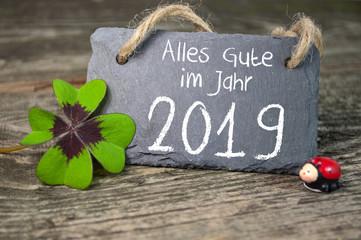 Tafel Kreidetafel mit Klee und Marienkäfer auf Holz mit 2019 Gesundheit Glück Erfolg