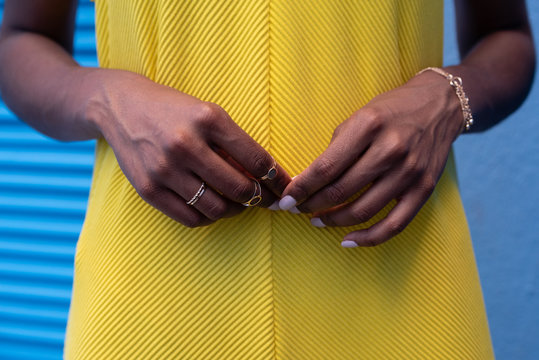 Crop woman hands with rings
