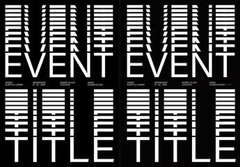 Black and White Poster Layout with Stacked Text