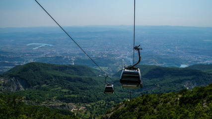 Albania, Cable car on top of Mount Dajti near Tirana Wall mural
