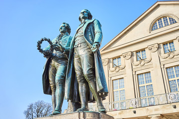 Famous sculpture of Goethe and Schiller in City of Weimar in East Germany