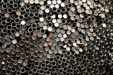 Metal pipe stainless stacked wait for material in manufacturing