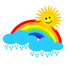 Cloud with sun and rainbow. Vector weather icon or background.