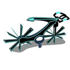 The bike is a new generation isolated on a white background. Cartoon vector close-up illustration.