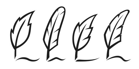 Ink writing feathers set. Vector illustration