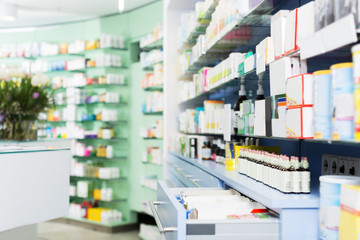Medicines on shelves in pharmacy