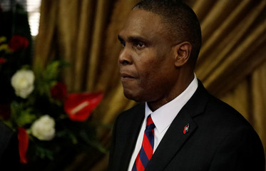 Nominated Prime Minister Jean Henry Ceant stands during the presentation of his nomination at the National Palace in Port-au-Prince