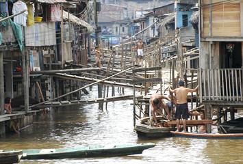The slums of Belen village in Iquitos, Peru in the Amazon rainforest.