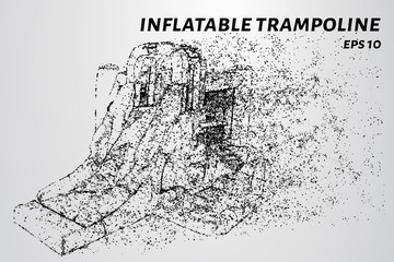 Inflatable slide trampoline. Inflatable slide of particles.