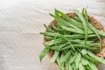 Green Beans on a Basket in the Right side