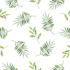 Watercolor hand painted seamless pattern of green leaves and  branches..