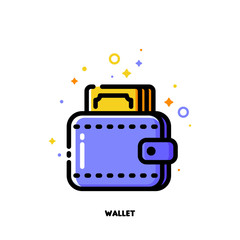 Icon of wallet with banknote for money concept. Flat filled outline style. Pixel perfect 64x64. Editable stroke
