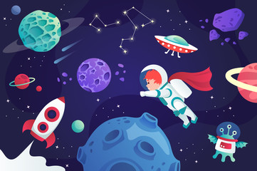 conquest of space. cartoon universe. vector illustration. planets and spaceship. child.