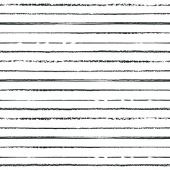 Monochrome black and white hand drawn mixed media striped seamless pattern on white background.