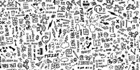 Seamless hand drawn school note doodles pattern in black and white.
